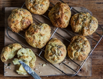 Blue Cheese and Seed Scones