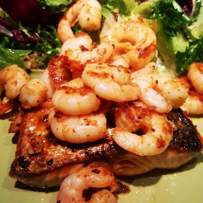 Pan-fried salmon with chilli garlic prawns